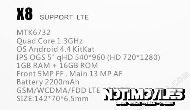 Unistar X8 Smartphone Con Procesador Mediatek de 64bit, LTE